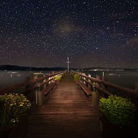 Stars over Lake Tahoe by Curt Lerner - Landscapes Starscapes ( water, yaxhts, pier, space, astronomy, starscape, lake tahoe )