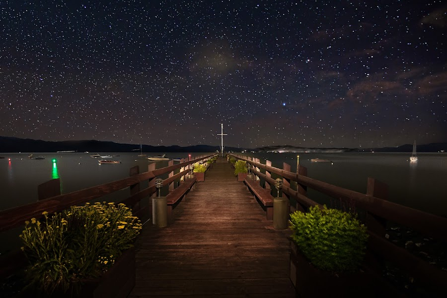 Stars over Lake Tahoe by Curt Lerner - Buildings & Architecture Bridges & Suspended Structures ( water, yaxhts, pier, space, astronomy, starscape, lake tahoe )
