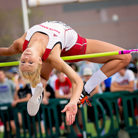 Bending Over Backwards by Bob Grandpre - Sports & Fitness Other Sports ( track and field, sports, glisar, sioux falls, women, high jump, howard wood relays )