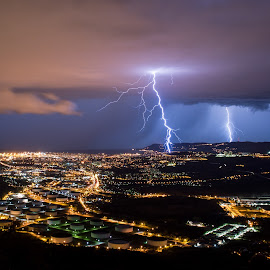 Lightning tripplets by Matic Cankar - Landscapes Weather ( thunder, beautiful, sea, cityscape, storm, city, lights, strike, lightning, trieste, stormchasing, night, italy )