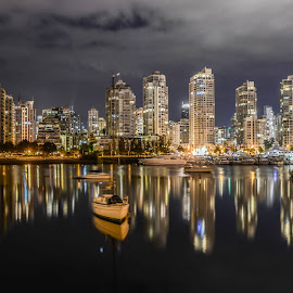 Peace in Vancouver by Cory Bohnenkamp - City,  Street & Park  Skylines ( clouds, water, night, boat, vancouver, city )