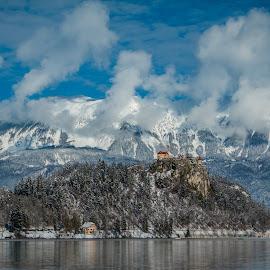 by Mario Horvat - City,  Street & Park  Vistas ( water, church, lake, travel, jezero, island, sneg, winter, touristic, slovenija, slovenia, snow, bled, castle )