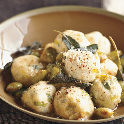 Ricotta Gnocchi with Leeks and Fava Beans