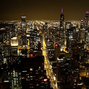 Chicago CBD At Night by Leigh Thomson - City,  Street & Park  Vistas ( skyline, willis tower, illinois, skyscrapers, travel, usa, city, lights, urban, tower, vista, night, chicago, trump )