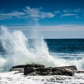 Waves Smashing Into The Rocks by Thomas Shaw - Landscapes Waterscapes ( water, clouds, sand, maine, atlantic ocean, waves, white, ocean, rock, beach, atlantic, landscape, coast, photography, east coast, sky, new england, blue, landscape photography, rocks )
