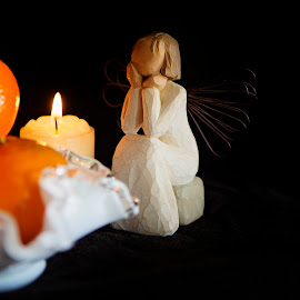 contemplation by Lynne Brewer - Novices Only Objects & Still Life ( angel, candle, peace, light )