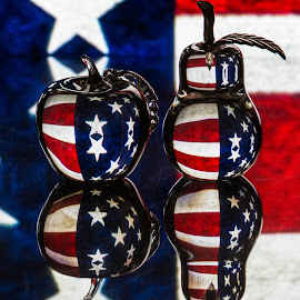 Independence  by Lisa Hendrix - Artistic Objects Glass ( glass fruit, inversion, reflection, fruit, memorial, glass pear, colors, memorial day, art, object, stripes, glass apple, flag, red, pattern, glass objects, color, blue, stars, apple, american, artistic, glass, whit, pear )