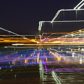 Lines by Ilan Abiri - Abstract Light Painting ( abstract, lights, colors, lake, lines )