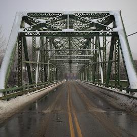 Bridge of Moderation Corner by Pete Talbot - Buildings & Architecture Bridges & Suspended Structures ( maine, fog, mood, bridge, morning )