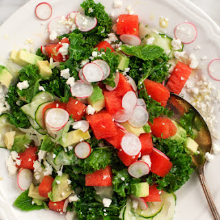 Watermelon & Avocado Kale Salad