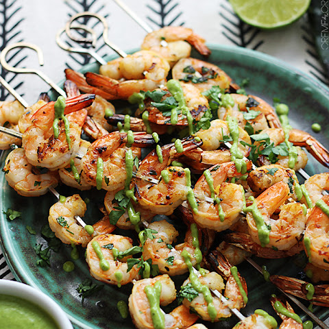 Cilantro-Lime Grilled Shrimp Skewers with Roasted Poblano Sauce