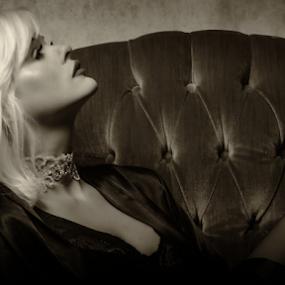 Film Noir by Sean Marquantte - People Portraits of Women ( model, blonde, black and white, modeling, budoir, striking pose, film noir )
