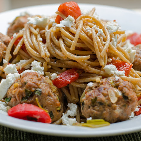 Red Pepper And Leek Pasta With Lamb Meatballs