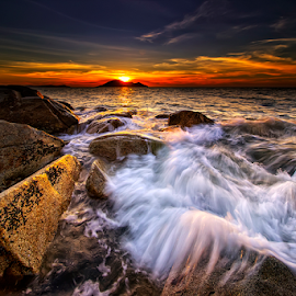 Waves, Rock and Sunset by Dany Fachry - Landscapes Beaches