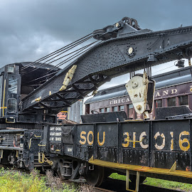 RR Crane by Mike Watts - Transportation Trains ( southern, railroad, crane )