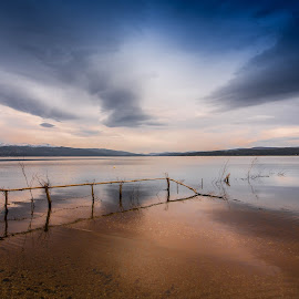 iskar dam by Ady Petrova - Landscapes Beaches ( clouds, water, skyline, reflection, sky, mountain, dam, horizon )