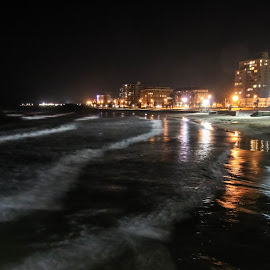 Beach front at Night by Lanie Badenhorst - City,  Street & Park  Night