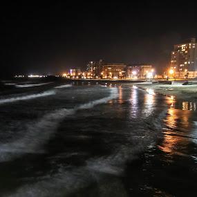Beach front at Night by Lanie Badenhorst - City,  Street & Park  Night (  )