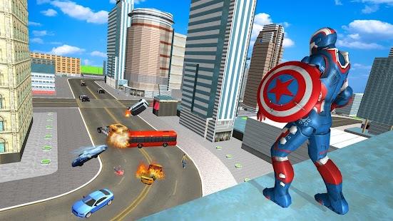 Flying Superhero Captain Robot Crime City Battle