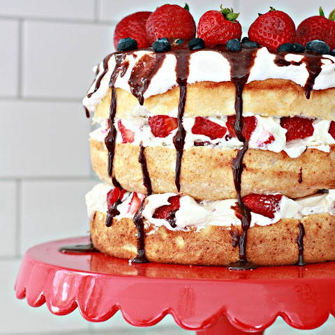 Summer Berry Angel Food Cake with melted chocolate