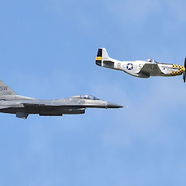 Edmonton Airshow. by Clyde Cornfield - Transportation Airplanes ( f-16, p-51 mustang )
