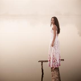Goodbye by Artur Jakutsevich - People Portraits of Women ( water, girl, nude, female, sunset, outdoor, art, beauty, road, light, portrait )