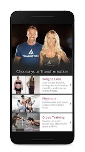 Transform with Chris and Heidi Fitness app screenshot for Android