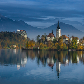 Bled Island and Castle by Branko Cesnik - Landscapes Travel