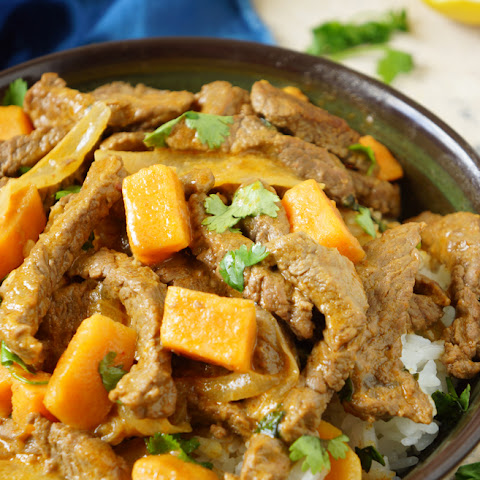 Sweet Potato Stir Fry with Coconut Beef