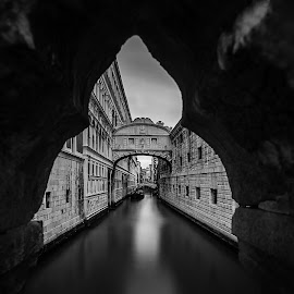 Bridge of Sighs by Mimo Meidany - Buildings & Architecture Bridges & Suspended Structures ( venezia, italia, black and white, meidany, venice, 16-35, italy )