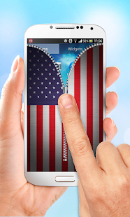 US Flag Zipper Lock Screen - screenshot
