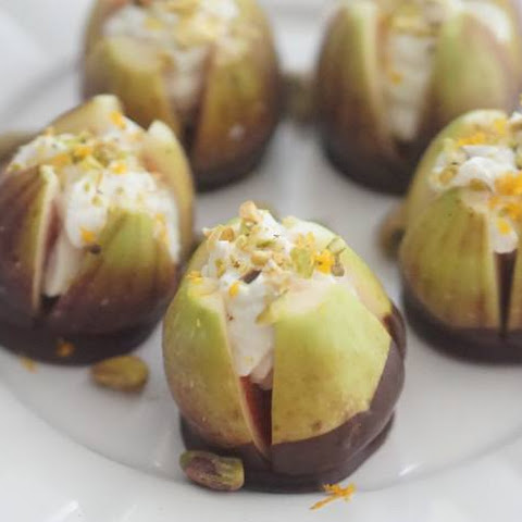 Dark Chocolate Dipped Chevre Mousse Filled Figs