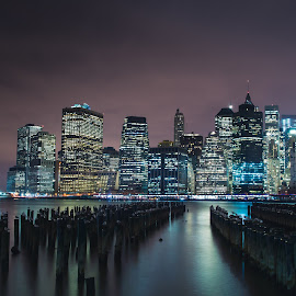Manhattan by Leo Laurent - City,  Street & Park  Skylines ( new-york, manhattan, night, slyline, brooklyn )