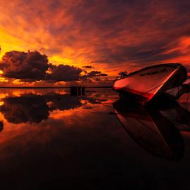 Boats on Fire by Nyoman Sundra - Transportation Boats ( bali, boats, kelan, transportation, sunrise )