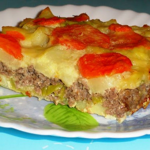 Vegetable Casserole With Cheese And Meat