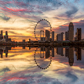 by Gordon Koh - City,  Street & Park  Skylines ( clouds, shenton way, skyline, blue hour, twilight, riverfront, suntec city, cityscape, travel, singapore, city, skyscraper, financial district, sunset, jubliee bridge, buildings, asia, singapore flyer, long exposure, waterfront )