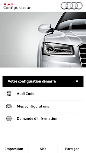 app audi configurateur apk for windows phone android games and apps. Black Bedroom Furniture Sets. Home Design Ideas