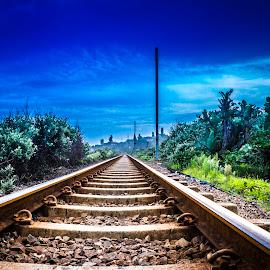 Railway Blues by Andre Oelofse - Transportation Railway Tracks