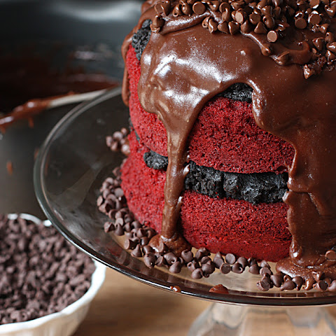 Red Velvet Oreo Truffle Chocolate Cake!