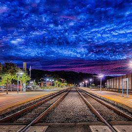The Tracks by Craig Turner - City,  Street & Park  Street Scenes ( lights, sunset, train, tracks, amtrack )
