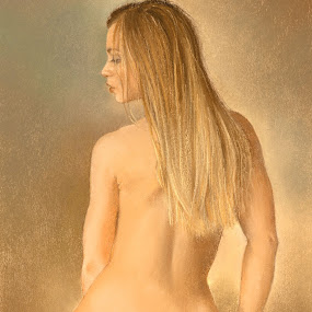 Seated Nude by Margaret Merry - Painting All Painting ( pastel, girl, nude, figure study, female, woman, naked, art, painting, print, drawing, figurative art )