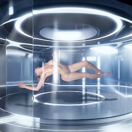 by Xavier Wiechers - Digital Art People ( frontier, concept, nude, peaceful, antigravity, station, sleeping, beauty, zero, space, levitating, bedroom )
