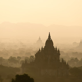 Bagan in Misty Morning by Tin Htoo Khaing - Landscapes Travel ( myanmar, dawn, pagoda, sunrise, bagan )