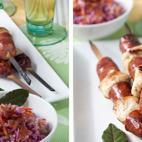 Beer and Honey Marinated Chicken and Jalapeno Smoked Sausage Kebabs with Warm Cabbage Slaw