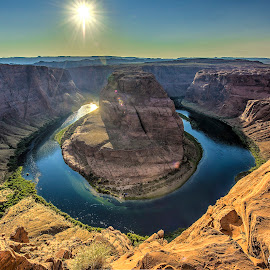 Horseshoe Bend by Leon Efimov - Landscapes Caves & Formations ( mountains, page, sunset, arizona, colorado, bend, travel, horseshoe bend, grand canyon, river, horseshoe )