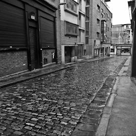Cobblestone Street by Deborah Russenberger - City,  Street & Park  Street Scenes