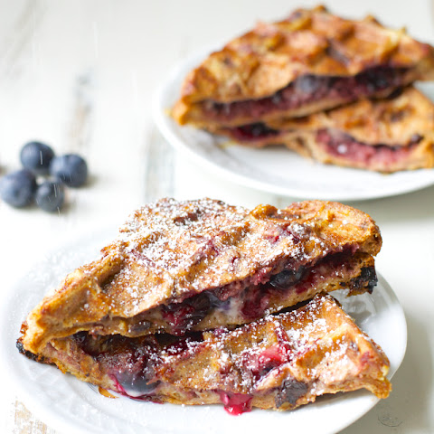 Blueberry Cheesecake Stuffed French Toast Waffles
