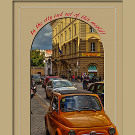Fiat 500 by Darin Williams - Digital Art Things ( clouds, car, orange, building, sky, rome, automobile, street, fiat, italy, city, 500 )