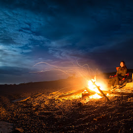 Oceanside Campfire by James Wheeler - People Couples ( person, moon, wood, ocean, blaze, travel, yellow, beach, landscape, people, together, flame, camp, adventure, nature, camping, happy, woman, couple, trip, fireplace, light, campfire, rocks, activity, man, expedition, water, clouds, orange, canada, romantic, leisure, tourism, scenic, fire, bonfire, tourist, wilderness, vacation, sitting, quebec, recreational, outdoor, campsite, night, outside )