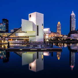 Cleveland North Coast Harbor by Tom Baker - City,  Street & Park  Skylines ( north coast harbor, cleveland skyline, rock and roll hall of fame, cleveland )